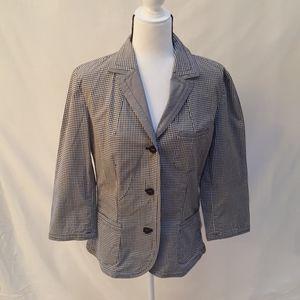 Talbots black white checked jacket size 14